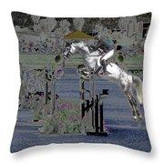 Champion Horse Jumper Throw Pillow