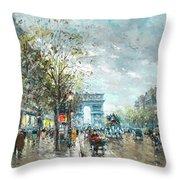 Champs Elysees Avenue, Paris Throw Pillow
