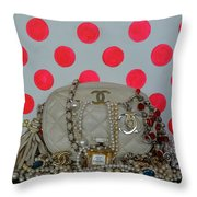 Chanel And Pink Polka Dots Throw Pillow