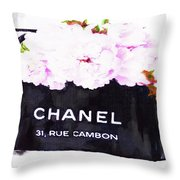 Chanel Bag With Peony  Throw Pillow