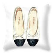 Chanel Ballet Flats Classic Watercolor Fashion Illustration Coco Quotes Vintage Paris Black White Throw Pillow