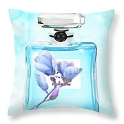 Chanel Blue Flower 3 Throw Pillow