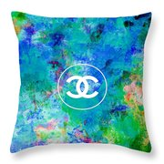 Chanel Blue White Red Black 10 Throw Pillow