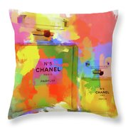 Chanel Five Watercolor Throw Pillow