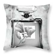 Chanel Grey Flower Throw Pillow