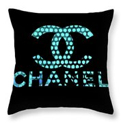 Chanel Light Blue Points Throw Pillow