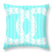 Chanel Logo Blue Teal White Throw Pillow