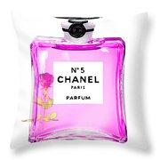 Chanel N 5 Perfume Print Throw Pillow