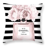 Chanel N.5, Black And White Stripes Throw Pillow