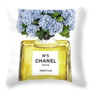 Chanel N.5 Yellow Bottle Throw Pillow