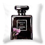 Chanel Noir Magnolia Pink Throw Pillow