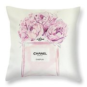 Chanel Peonies Throw Pillow