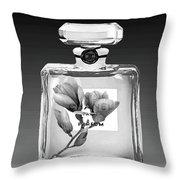 Chanel Perfume Black Flower Throw Pillow