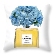 Chanel Perfume Nr 5 With Blue Hydragenias  Throw Pillow