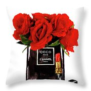 Chanel Perfume With Red Roses Throw Pillow