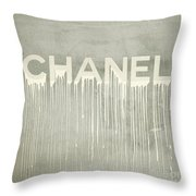 Chanel Plakative Fashion - Simple Beige Throw Pillow
