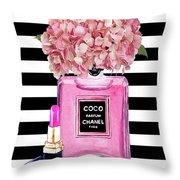 Chanel Poster Pink Perfume Hydrangea Print Throw Pillow