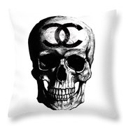 Chanel Skull Black Throw Pillow