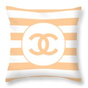 Chanel - Stripe Pattern - Beige - Fashion And Lifestyle Throw Pillow