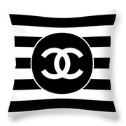 Chanel - Stripe Pattern - Black And White 2 - Fashion And Lifestyle Throw Pillow