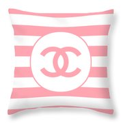 Chanel - Stripe Pattern - Pink - Fashion And Lifestyle Throw Pillow