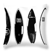 Chanel Surfboard  Black And White Throw Pillow