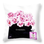 Chanel With Flowers Throw Pillow