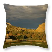 Changing Weather Over Farmland In Southwestern Usa Throw Pillow