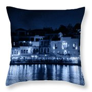 Chania By Night In Blue Throw Pillow