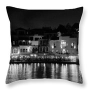 Chania By Night In Bw Throw Pillow
