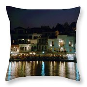 Chania By Night  Throw Pillow