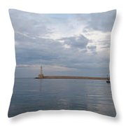 Chania Old Harbour Throw Pillow