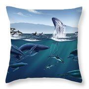 Channel Islands Whales Throw Pillow