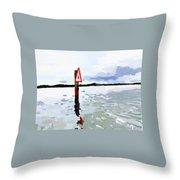 Channel Marker, Banana River, Merritt Island, Fl Throw Pillow