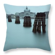 Channel Markers, Venice, Italy Throw Pillow