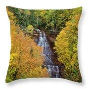 Chapel Falls Autumn Upper Peninsula Michigan Throw Pillow