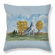 Chapel In Fall Throw Pillow