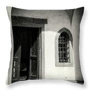 Chapel In Riomaggiore Cinque Terre Italy Bw Throw Pillow