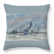 Chapel In Winter Throw Pillow