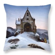 Chapel On A Mountain In Winter Throw Pillow