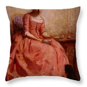 Chaplin Charles Girl In A Pink Dress Reading With A Dog Throw Pillow