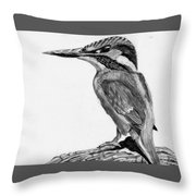 Charcoal Kingfisher Throw Pillow