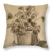 Charcoal Planter Throw Pillow