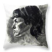 Charcoal Portrait Of A Pensive Young Woman In Profile Throw Pillow