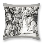 Charcoal Racers Throw Pillow