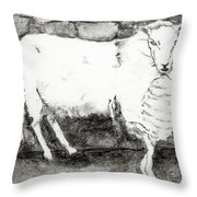 Charcoal Sheep Throw Pillow