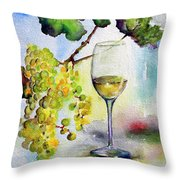 Chardonnay Wine Glass And Grapes Throw Pillow