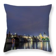Charles Bridge At Night Throw Pillow