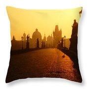 Charles Bridge Prague At Sunrise Throw Pillow