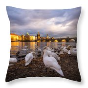 Charles Bridge, Prague With Swans Throw Pillow
